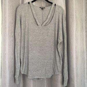 Express Grey Ribbed Long Sleeve